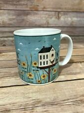 "Sakura Warren Kimble Birdhouse Mug Blue 3.5"" Flowers Birds"