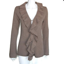 MAGASCHONI CASHMERE Ruffle Draped Front Cardigan Brown Women's Medium -INV5819
