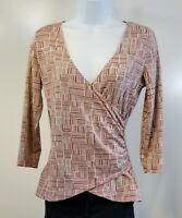 Ann Taylor Loft Womens Size S Red Beige 3/4 Sleeve Crossover Pop Over Top Shirt