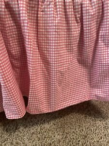 Pottery Barn Kids Bright Pink & White Gingham Twin Bed Skirt Dust Ruffle Cotton