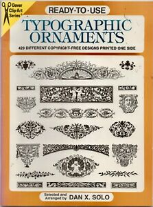 Orig Dover Press 'Typographic Ornaments' 429 different copyright-free designs