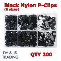 Assorted Box of Nylon P-Clips Black 4.8mm - 27.9mm Wire Cable Conduit P Clip