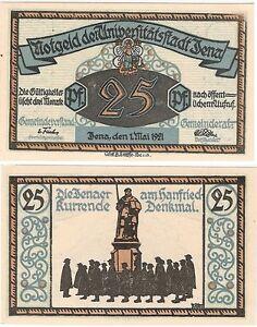 Germany 25 Pfennig 1921 Notgeld Jena UNC Uncirculated Banknote