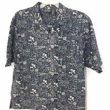 OP Sport L Large Men's Blue Short Sleeve 100% Cotton Camp Shirt
