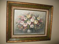 Original Textured Oil Palette Knife Painting Of Flowers In A Vase Signed Helman