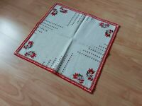 Beautiful Vintage Linen Tablecloth Handmade Embroidery Folk art Square 17""