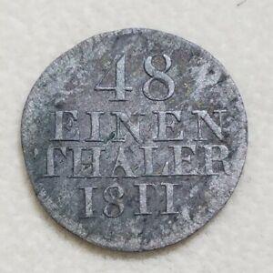1811/01 H Overdate German State Saxony Albertine Thaler Error Rare Silver Crown