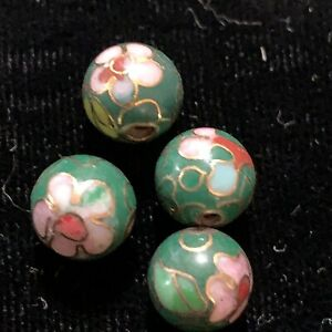 4 Vintage Green w Pink Flowers Leaves Cloisonne Chinese Enamel Round Beads 8mm