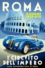 Racing Circuit Of Rome 1939 Motor Race Vintage Poster Print Retro Style Art