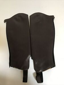 """Shires Brown Leather Gaiters 15"""" Calf Immaculate Condition"""
