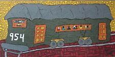 "John Sperry Primitive Outsider Southern Folk Art painting Mixed Media ""Trolley"""