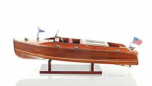 """Chris Craft Runabout Speed Boat Double Cockpit 25"""" Wood Model  Assembled"""