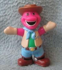 "COWBOY BARNEY THE PURPLE DINOSAUR 3"" PVC FIGURE Cake Topper Hasbro"