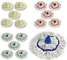 Color codificado fregona de la limpieza higiénica hilo de algodón fregona Zócalo Azul Paquete de 5