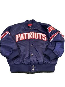 NEW ENGLAND PATRIOTS Starter Snap Down Navy Blue Jacket YOUTH Size Large