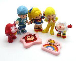 Vintage 5 Set Plastic Rainbow Brite Figurines 1983 Hallmark Plus 2 Erasers