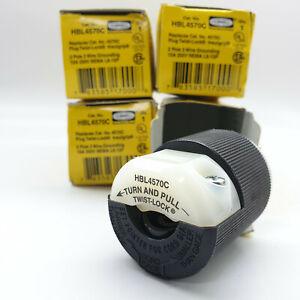 Lot De 4 Hubbell HBL4570C Twist-Lock Prise 15A 250V 2 Pôle 3 Câble Grounding