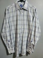 Men's Large Bugatchi Shaped Fit Long Sleeve Shirt with Embroidered Lions