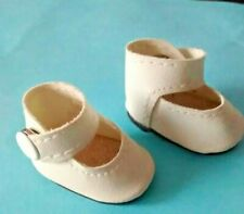 Cute - Ceramic Leather Doll Shoes- White With Strap Snap