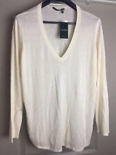 NWT RALPH LAUREN LRL Sweater IVORY Silk Blend V Neck 3X WOMENs PLUS MSRP $ 99
