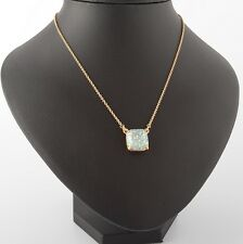 KATE SPADE 12K Gold Plated Opal Glitter Square Pendant Necklace NEW