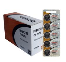 100 x Maxell cr2025 CR 2025 Hologram genuine Lithium 3V Battery