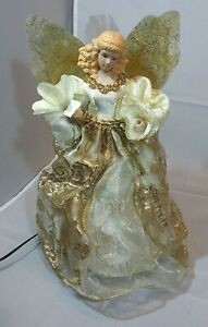 """FIBER OPTIC ANGEL Christmas Tree - Table Topper Changes Color 12"""" Works With Box"""