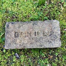 Antique Reclaimed Fire Brick Stamped Garfield Incised Early 1900s Nice Old