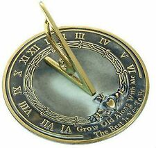 Brass Grow Old with Me Sundial - Solid Brass w/Verdigris Highlights