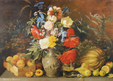 "28"" PRINT Flowers & Fruits,1839 by Khrutsky ANTIQUE ART - VICTORIAN STILL LIFE"