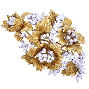 Fashion Jewelry | 9.75 CTW 18K Yellow and White Gold Floral Brooch