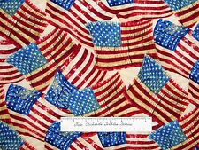 """Patriotic Fabric - American Flag Red Beige Blue - Timeless Treasures Cotton 29"""""""