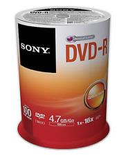 100 x Sony Blank 16X DVD-R 4.7GB Disc 100pk Spindle Sealed
