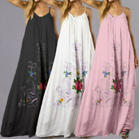 Plus Size Women Boho Floral Beach Maxi Bikini Cover Up Party Cocktail Long Dress