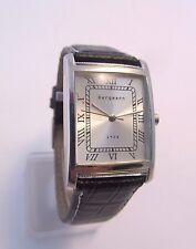 Bergmann 1928 * schwarzes Lederband  Weiße Nähte *  Rechteckig*Herren Quarz Uhr