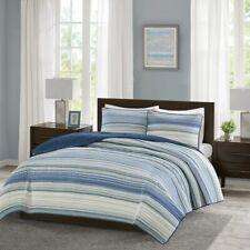 SEALED Madison Park 3-pc Quilt Set - Blue Textured Stripe -KING/CALIFORNIA KING