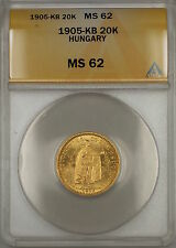1905-KB Hungary 20K Korona Gold Coin ANACS MS-62 SB