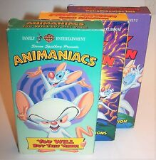 Pinky & The Brain & The Animaniacs 3 VHS Video Cassette Lot - You Will Buy This