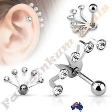 316L Surgical Steel 5 Crystal Set Fan Hanging Silver Tragus/Cartilage Stud
