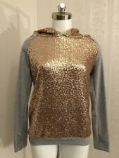 12PM by Mon Ami Long Sleeves Gold Sequined Gray Top Hoodie Medium