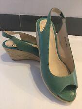 NEW Clarks Turquoise Leather Slingback Espedril Wedge Sandals. Size 5.5UK.
