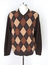 Tasso Elba Shades of Brown Argyle Diamonds 100% Fine Cashmere V-Neck Sweater L