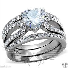 Set 5 6 7 8 9 10 Tk2041 Brilliant 1.7ct Heart Shaped Cubic Zircon Cz Aaa Wedding