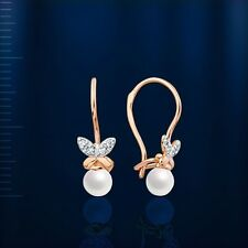 Russian Rose gold 14k/ 585 KIDS earrings with pearl and CZ. NWT stunning. 0.97 g