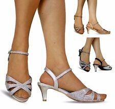 Nuevo Mujer Fiesta Diamante Ancho Pies Bajo Tacón Zapatos Sandalias Talla Grande