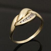 goldener Ring aus 333er Gold 8kt Gelbgold Damenring 5 weisse Zirkonia 17 / 54