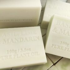 4 X AUSTRALIAN MADE SOAP Basil, Lime & Mandarin No Chemicals CREAMY SOAP