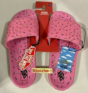 BRAND NEW Vans x The Simpsons D'OHnut Slides (Pink - Donut) - Size 10