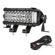 "8""inch Tri Row LED Work Light Bar Sider Shooter Spot Flood Combo Bean+Wiring Kit"