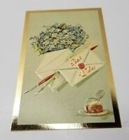 Embossed Floral Postcard Best Wishes Beautiful Gold Gilded Hong Kong Unused
